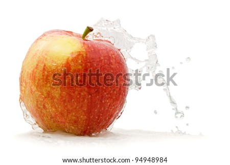apple spray, picture on a white background - stock photo