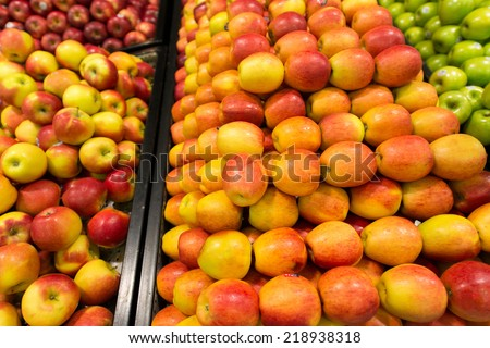 Apple stall in big supermarket
