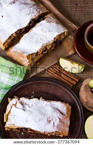 Apple strudel or apple pie  with dates and cinnamon