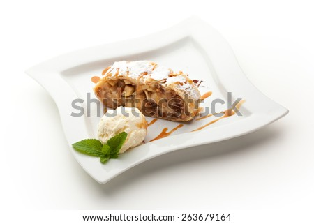 Apple Strudel Served with Ice Cream - stock photo