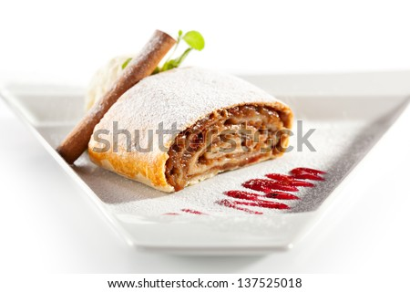 Apple Strudel Served with Ice Cream and Fresh Mint - stock photo