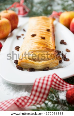 apple strudel with christmas decoration