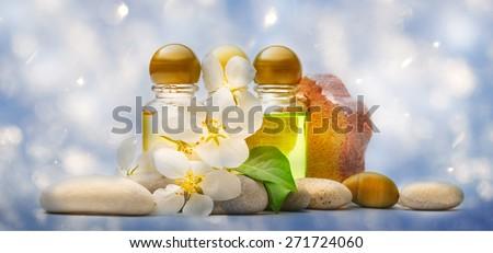 Apple tree flowers, sea stones and shampoo on snow - stock photo