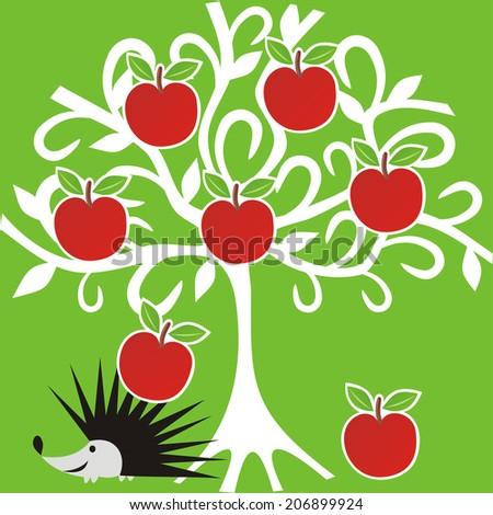 Apple tree hedgehog illustration - stock photo