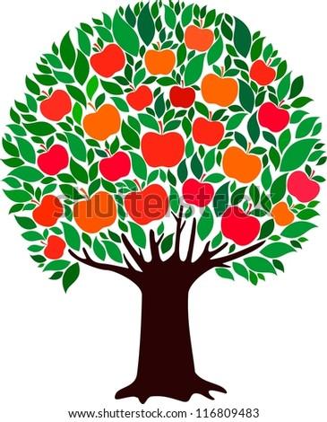 apple tree illustration. apple tree isolated on white background. illustration l