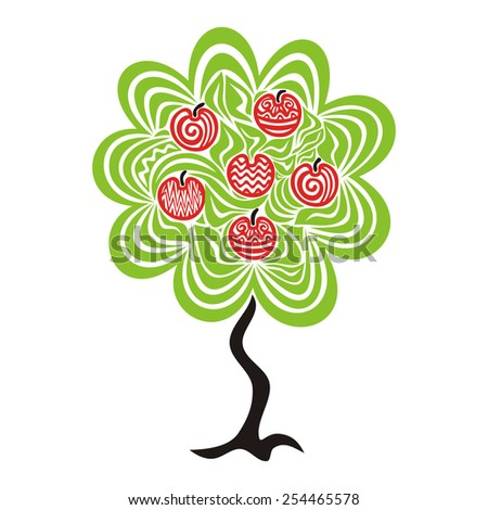 Apple tree pattern green red black illustration - stock photo