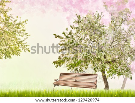 apple trees with flowers in green grass with flowers