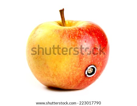 Apple with a 5-pin connector - stock photo