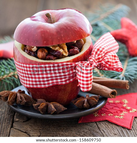 apple with bow and filling   - stock photo