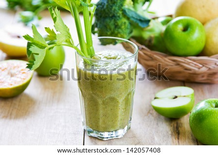 Apple with Celery ,Pear and Broccoli smoothie - stock photo