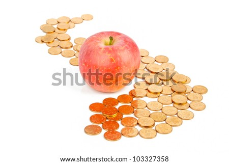 Apple with coin - stock photo