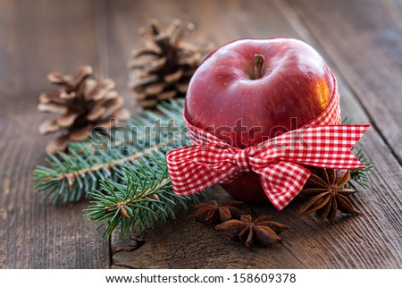 apple with decoration for christmas - stock photo