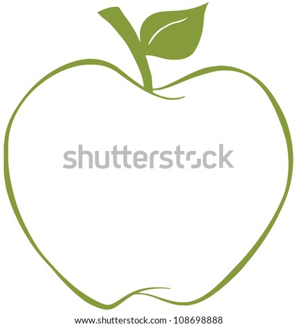 Apple With Green Outline. Raster Illustration.Vector version also available in portfolio. - stock photo