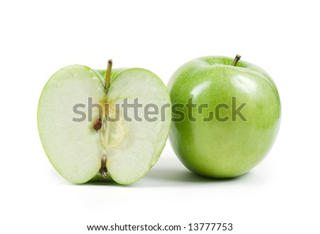 Apple with half isolated on white background - stock photo