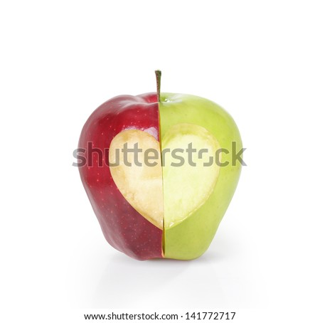 apple with heart shape on white background