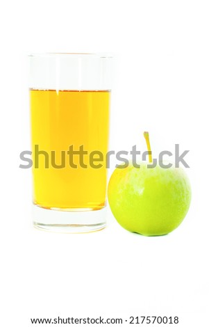 apple with juice isolated on white background - stock photo