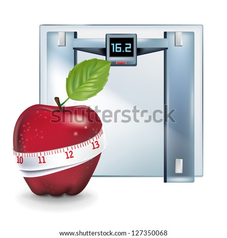 apple with measuring tape and weight scale isolated on white - stock photo