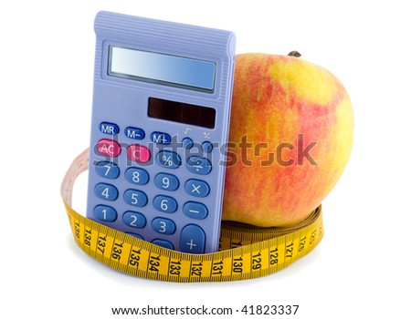 Apple with measuring tape calculator isolated on white background - stock photo