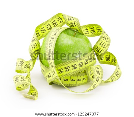 apple with measuring tape. isolated over white background