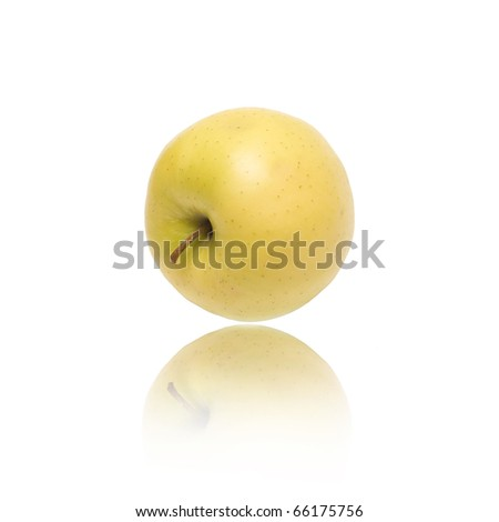 apple with reflection on white background
