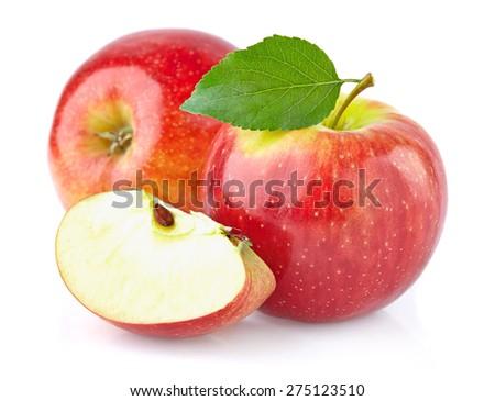 Apple with slice - stock photo