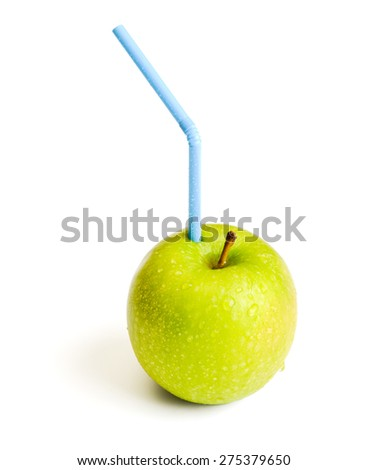 apple with straw for juice