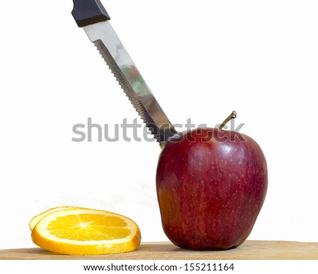 Apple with the thrust knife