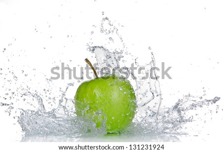 Apple with water splash isolated on white - stock photo