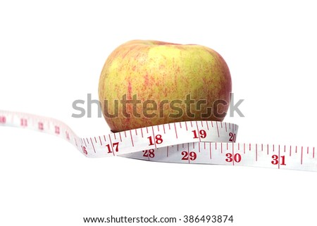Apple wrapped in tailor tape in concept of Diet and Health