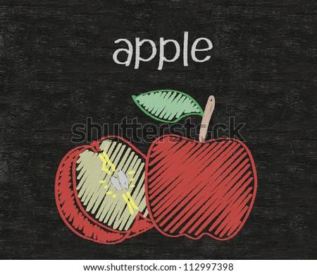 apple written on blackboard background high resolution - stock photo