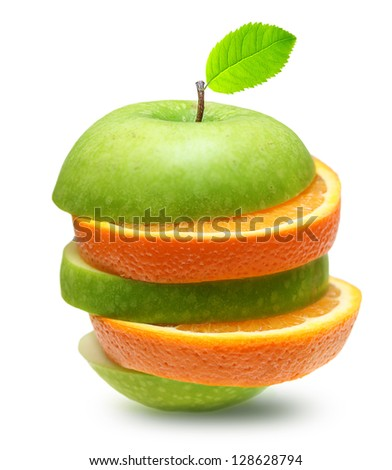 Apples and orange fruit isolated - stock photo
