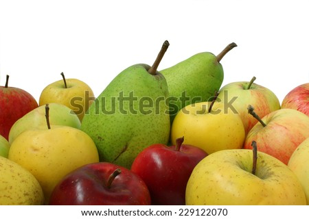 Apples and pears mixed located on the floor of the frame - stock photo