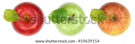 Apples apple fruit fruits top view isolated on a white background