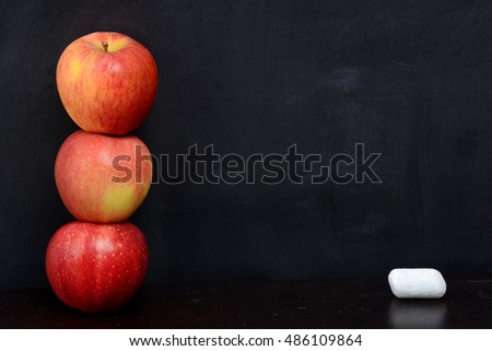 apples chalk and a blackboard background