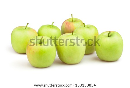 apples group on white background