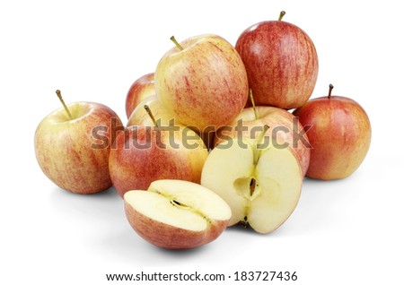 Apples Grouped Together, One Halved