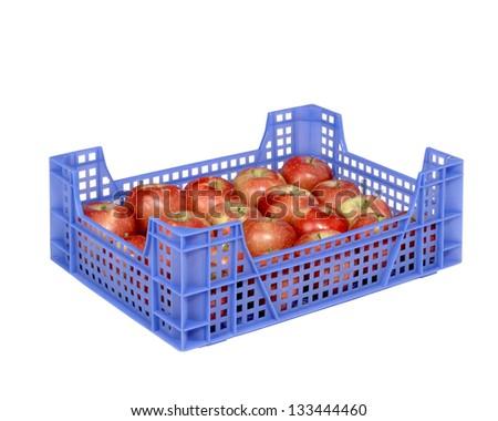 apples in plastic crates - stock photo
