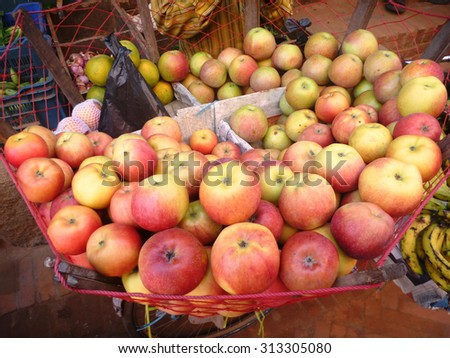 Apples in the basket of nylon for comfort for the customers.