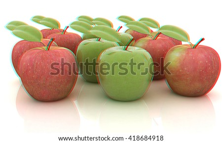 apples on a white background. 3D illustration. Anaglyph. View with red/cyan glasses to see in 3D.