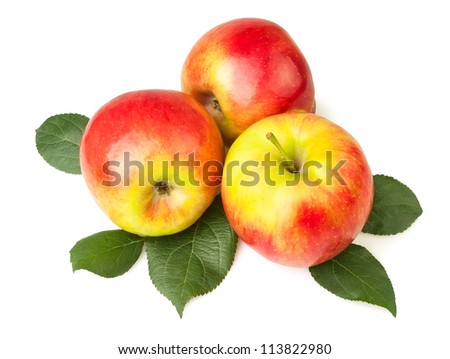 apples on leaves isolated white background - stock photo