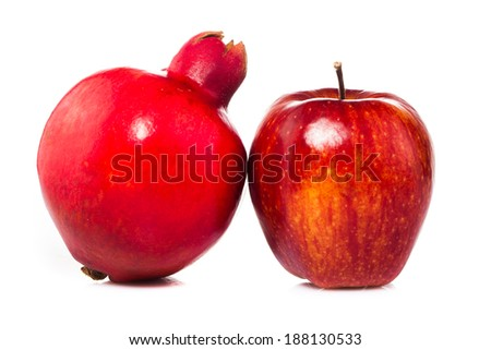 apples Pomegranate fruits isolated on white background
