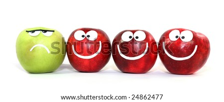 Apples-smiles symbolize themselves difference of one from the others - stock photo
