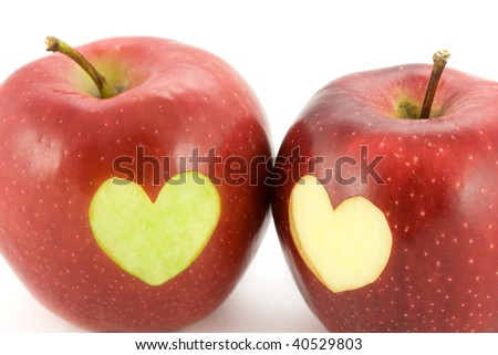 apples with a heart - stock photo