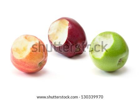 apples with bite - stock photo