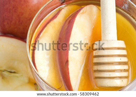 Apples with honey sweet food for the Jewish New Year