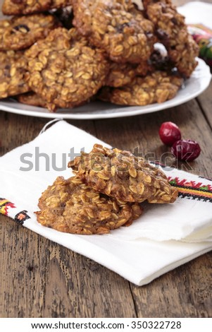 Applesauce oatmeal cookies with dried cranberries  - stock photo