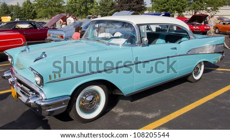 APPLETON, WI - JULY 21: A Powder Blue & White 1957 Chevy or Chevrolet Bel Air at the 18th Annual WVBO Classic Car Show at Fox Valley Technical College on July 21, 2012 in Appleton, Wisconsin. - stock photo