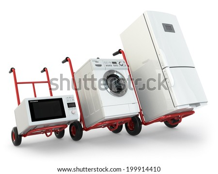 Appliance delivery. Hand truck, fridge, washing machine and microwave oven. 3d - stock photo