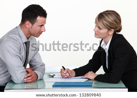 Applicant and recruiter - stock photo