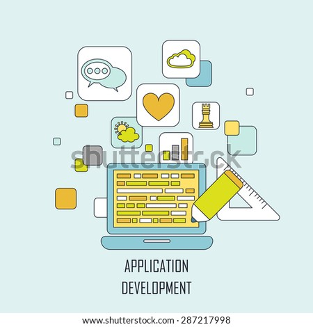application development concept in flat thin line style - stock photo